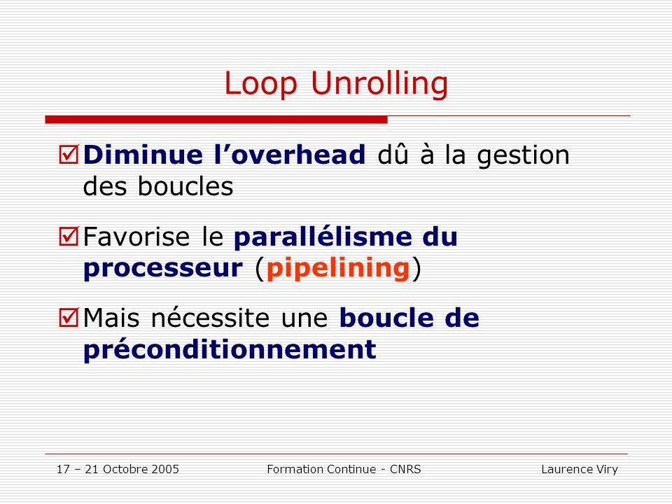 17 – 21 Octobre 2005 Formation Continue - CNRS Laurence Viry Loop Unrolling Diminue loverhead dû à la gestion des boucles Favorise le parallélisme du processeur (pipelining) Mais nécessite une boucle de préconditionnement