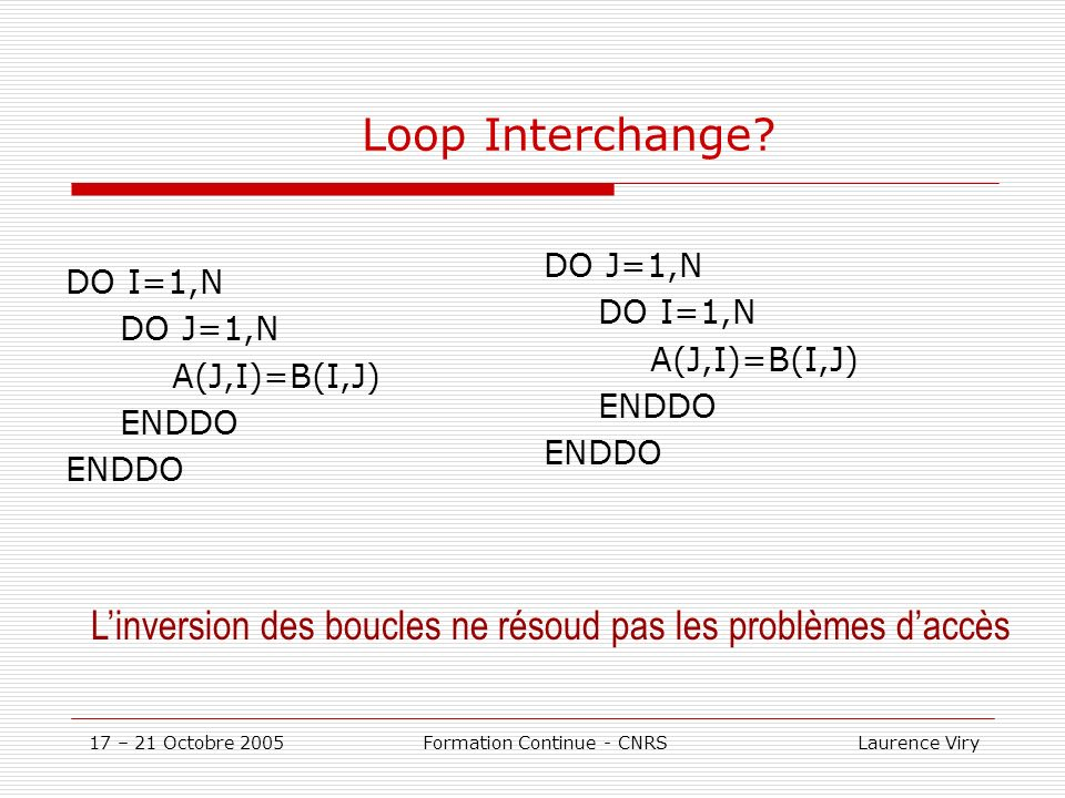 17 – 21 Octobre 2005 Formation Continue - CNRS Laurence Viry Loop Interchange.