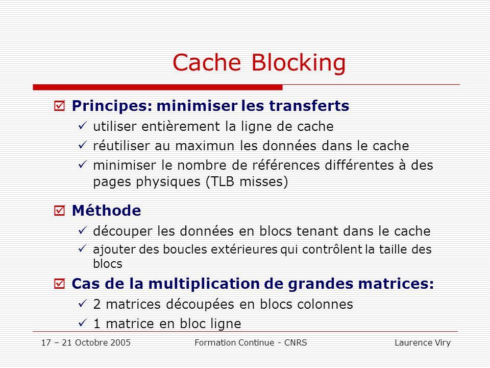 17 – 21 Octobre 2005 Formation Continue - CNRS Laurence Viry Cache Blocking Principes: minimiser les transferts utiliser entièrement la ligne de cache réutiliser au maximun les données dans le cache minimiser le nombre de références différentes à des pages physiques (TLB misses) Méthode découper les données en blocs tenant dans le cache ajouter des boucles extérieures qui contrôlent la taille des blocs Cas de la multiplication de grandes matrices: 2 matrices découpées en blocs colonnes 1 matrice en bloc ligne