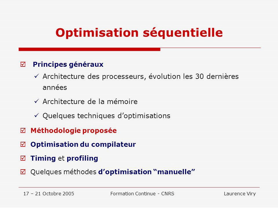17 – 21 Octobre 2005 Formation Continue - CNRS Laurence Viry IPA (suite) Inconvénients: augmente le temps global compilation/édition de liens augmente la taille de lexécutable peut modifier sensiblement les résultats