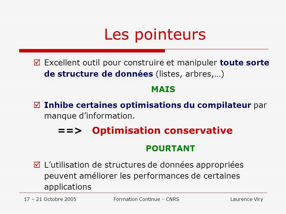 17 – 21 Octobre 2005 Formation Continue - CNRS Laurence Viry Les pointeurs Excellent outil pour construire et manipuler toute sorte de structure de données (listes, arbres,…) MAIS Inhibe certaines optimisations du compilateur par manque dinformation.