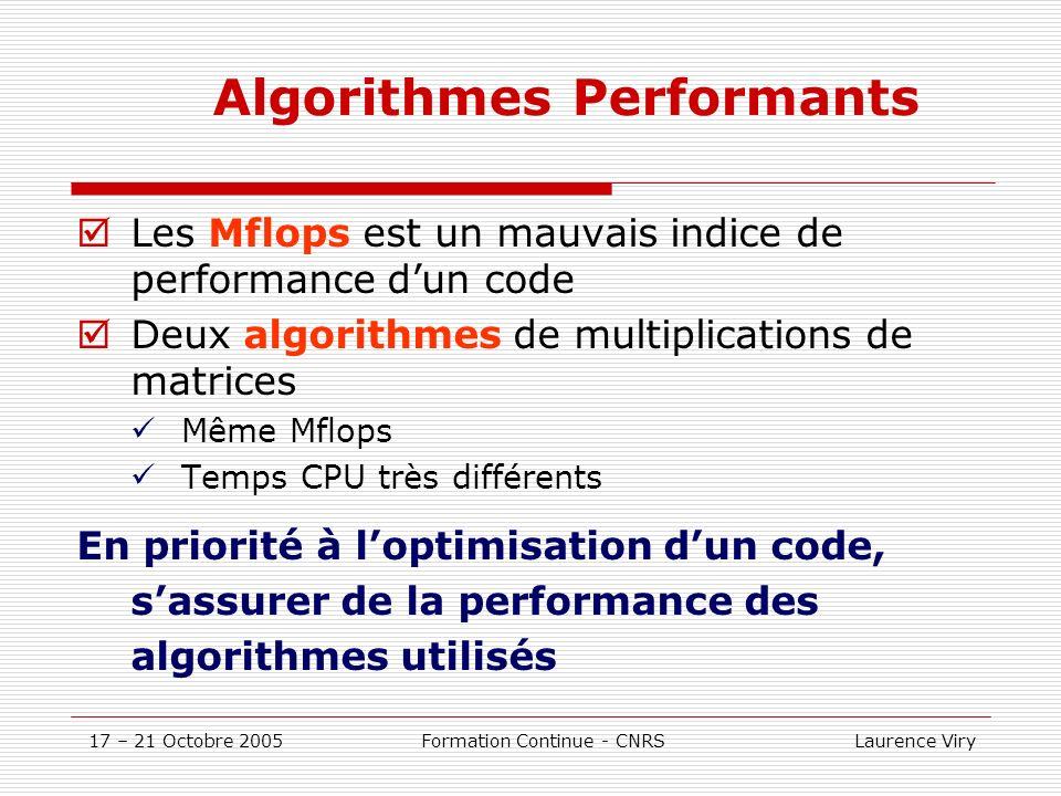 17 – 21 Octobre 2005 Formation Continue - CNRS Laurence Viry Algorithmes Performants Les Mflops est un mauvais indice de performance dun code Deux algorithmes de multiplications de matrices Même Mflops Temps CPU très différents En priorité à loptimisation dun code, sassurer de la performance des algorithmes utilisés