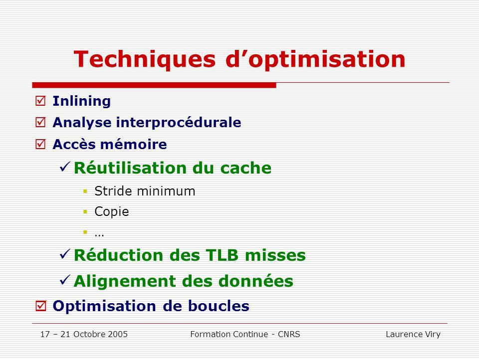 17 – 21 Octobre 2005 Formation Continue - CNRS Laurence Viry Compilateur: génération de code (rappel) 1ère phase: analyse syntaxique et logique Transformation en un code intermédiaire prêt à loptimisation 2ème phase: Optimisation Haut Niveau (HLO: transformations de boucles, inlining,..) 3ème phase: Optimisations globales et locales, allocation des registres… 4ème phase: Génération du code en tenant compte des spécificités de larchitecture du(des) processeurs.