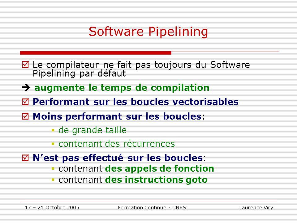 17 – 21 Octobre 2005 Formation Continue - CNRS Laurence Viry Utiliser des codes déjà optimisés SGI: ALTIX 350 SCSL () et SCSLXXX (version parallèle SMP) versions optimisées des BLAS1, 2 et 3 (Basic Linear Algebra) FFT 1,2 et 3-D lapack (système linéaire et valeurs propres) solveurs de systèmes creux...