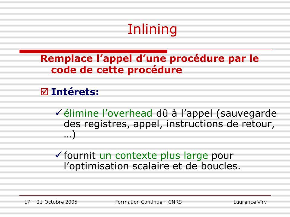17 – 21 Octobre 2005 Formation Continue - CNRS Laurence Viry Inlining Inconvénients: Augmente le temps de compilation Crée des problèmes dallocation de registres plus complexes augmente la taille du code Critères dInlining: fréquence des appels taille de la procédure appelée