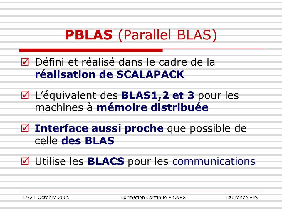 17-21 Octobre 2005 Formation Continue - CNRS Laurence Viry PBLAS (Parallel BLAS) Défini et réalisé dans le cadre de la réalisation de SCALAPACK Léquiv