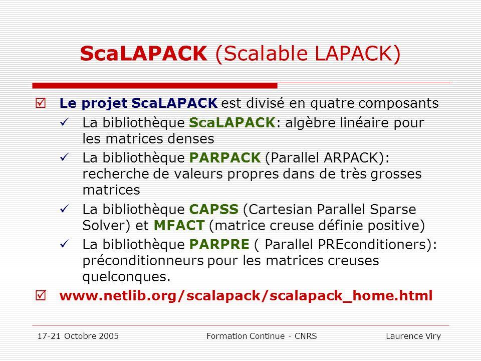 17-21 Octobre 2005 Formation Continue - CNRS Laurence Viry ScaLAPACK (Scalable LAPACK) Le projet ScaLAPACK est divisé en quatre composants La biblioth