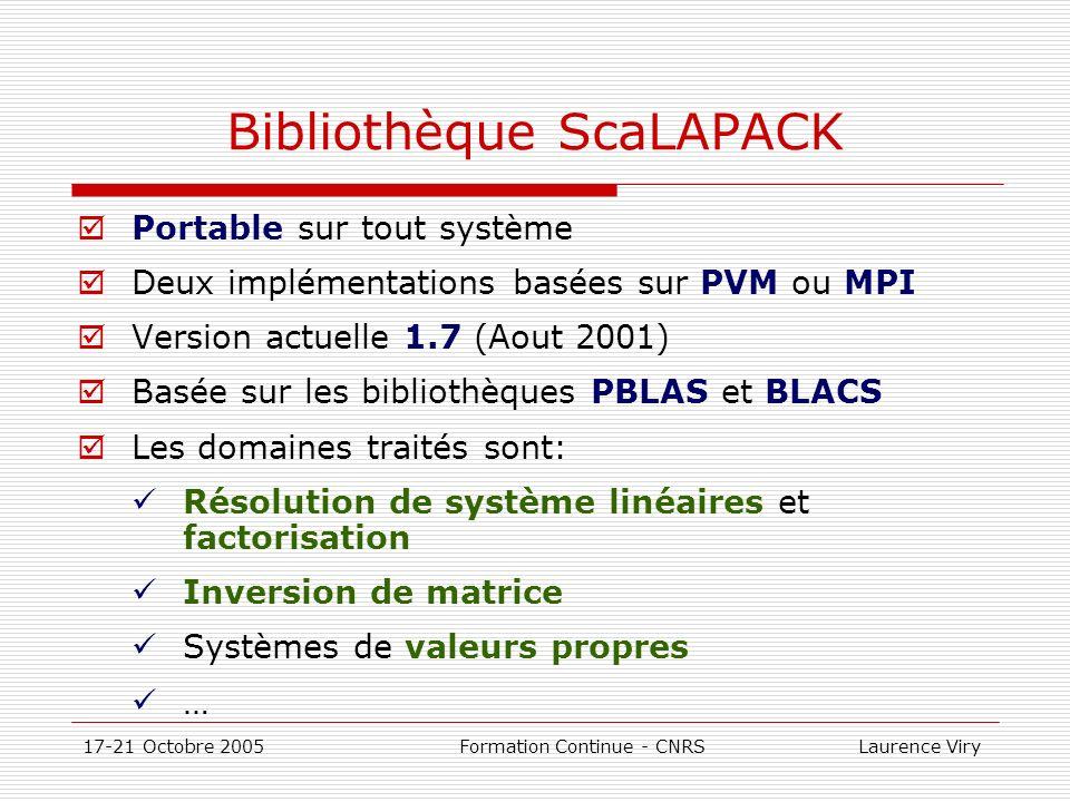17-21 Octobre 2005 Formation Continue - CNRS Laurence Viry Bibliothèque ScaLAPACK Portable sur tout système Deux implémentations basées sur PVM ou MPI