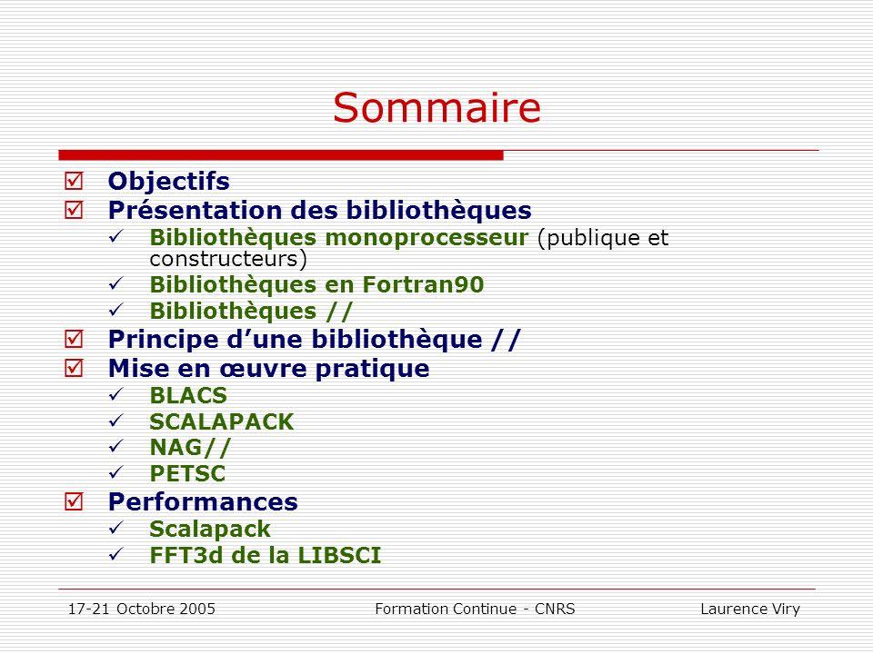 17-21 Octobre 2005 Formation Continue - CNRS Laurence Viry IMSL Parallel Se prête à la répétition dun calcul sur des jeux de données différents Partie intégrante de la bibliothèque Fortran (Fortran 90 MP) La mise en œuvre de la parallélisation est cachèe