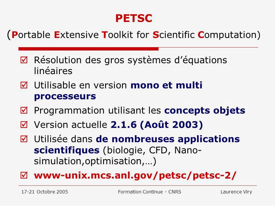 17-21 Octobre 2005 Formation Continue - CNRS Laurence Viry PETSC ( Portable Extensive Toolkit for Scientific Computation) Résolution des gros systèmes
