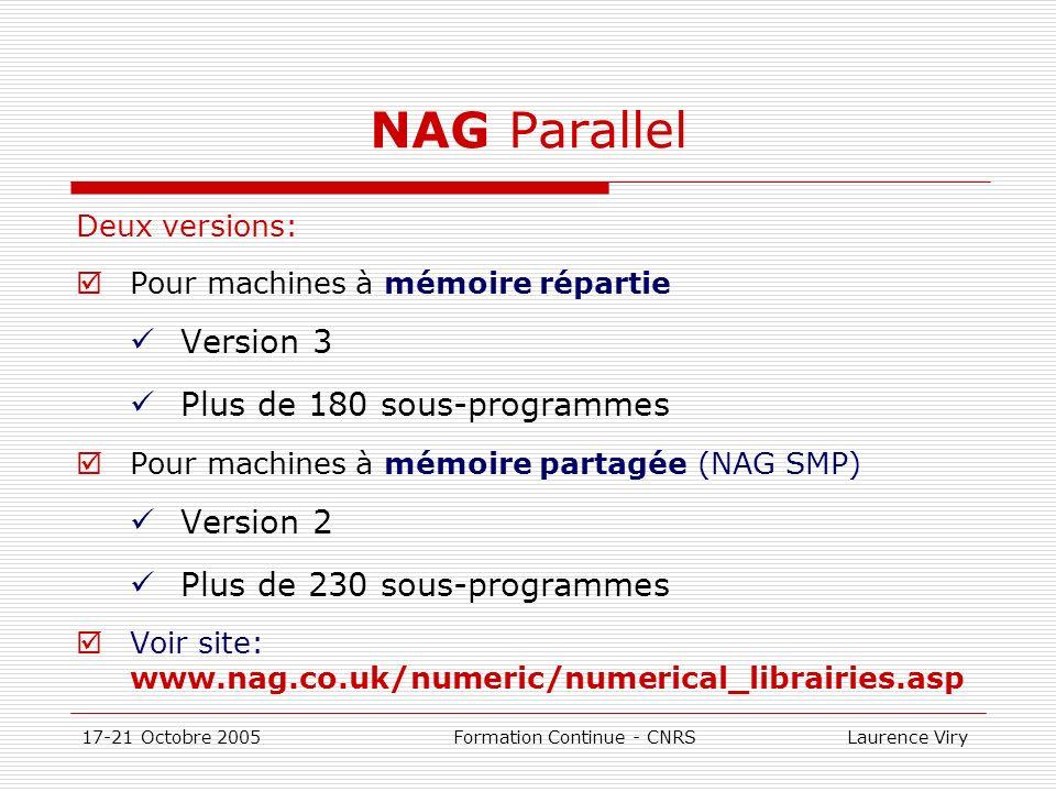 17-21 Octobre 2005 Formation Continue - CNRS Laurence Viry NAG Parallel Deux versions: Pour machines à mémoire répartie Version 3 Plus de 180 sous-pro