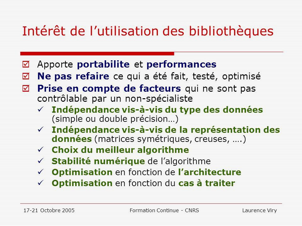 17-21 Octobre 2005 Formation Continue - CNRS Laurence Viry Classification des bibliothèques disponibles Bibliothèques portables Disponibles sur la plupart des plates-formes Du domaine public: BLAS, LAPACK,ARPACK,SCALAPACK, FFTW, PETSC,… Commerciales: IMSL et NAG Bibliothèques fournies par les constructeurs Chaque constructeur de calculateur scientifique a développé sa propre bibliothèque(ESSL-IBM, CXML- HP/COMPAQ, SCILIB-SGI…) Elles sont optimisées (en principe) pour les machines concernées Elles ne sont pas portables