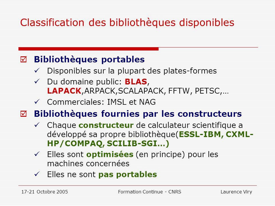 17-21 Octobre 2005 Formation Continue - CNRS Laurence Viry Bibliothèques monoprocesseur BLAS BLAS: bibliothèque qui fournit des opérations algébriques de bas niveau Versions: en Fortran domaine public (www.netlib.org/blas)www.netlib.org/blas constructeur optimisée à larchitecture des machines Trois sections BLAS1 : opérations vecteur/vecteur y=alpha*x + y BLAS2 : opérations matrice/vecteur y=alpha*A*x + y BLAS3 : opérations matrice/matrice C=alpha*AB+C