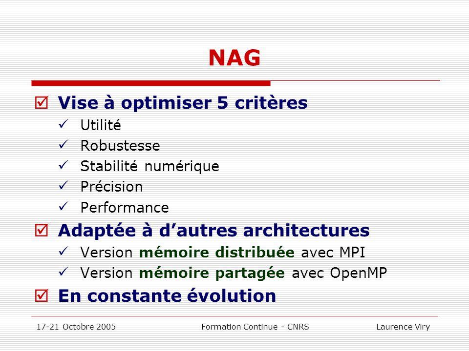 17-21 Octobre 2005 Formation Continue - CNRS Laurence Viry NAG Vise à optimiser 5 critères Utilité Robustesse Stabilité numérique Précision Performanc