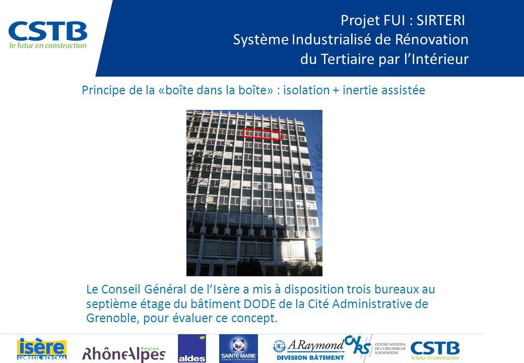 Projet FUI : SIRTERI Système Industrialisé de Rénovation du Tertiaire par lIntérieur Le Conseil Général de lIsère a mis à disposition trois bureaux au