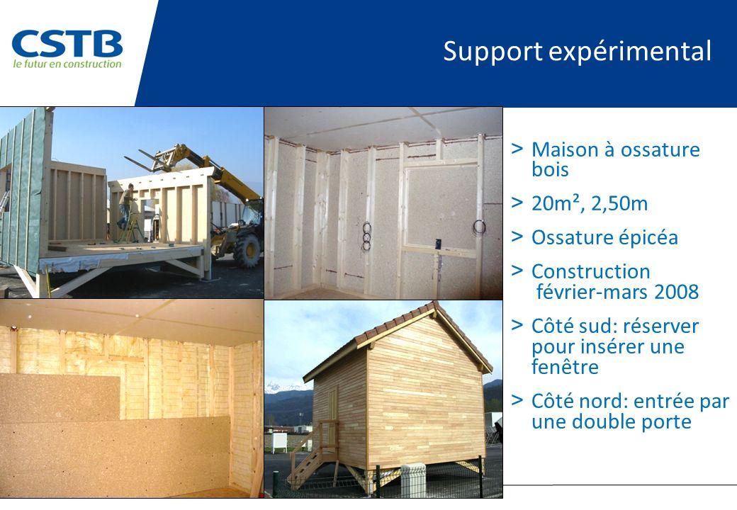 Support expérimental > Maison à ossature bois > 20m², 2,50m > Ossature épicéa > Construction février-mars 2008 > Côté sud: réserver pour insérer une f