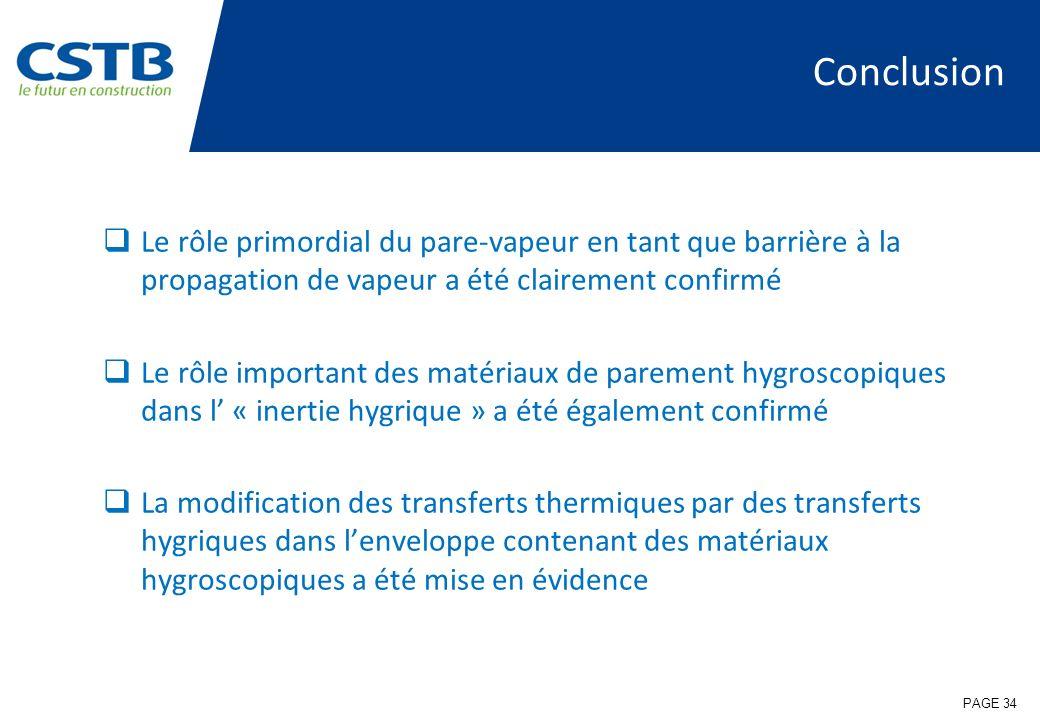 Conclusion Le rôle primordial du pare-vapeur en tant que barrière à la propagation de vapeur a été clairement confirmé Le rôle important des matériaux