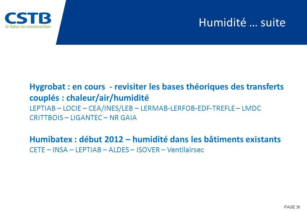 PAGE 36 Humidité … suite Hygrobat : en cours - revisiter les bases théoriques des transferts couplés : chaleur/air/humidité LEPTIAB – LOCIE – CEA/INES