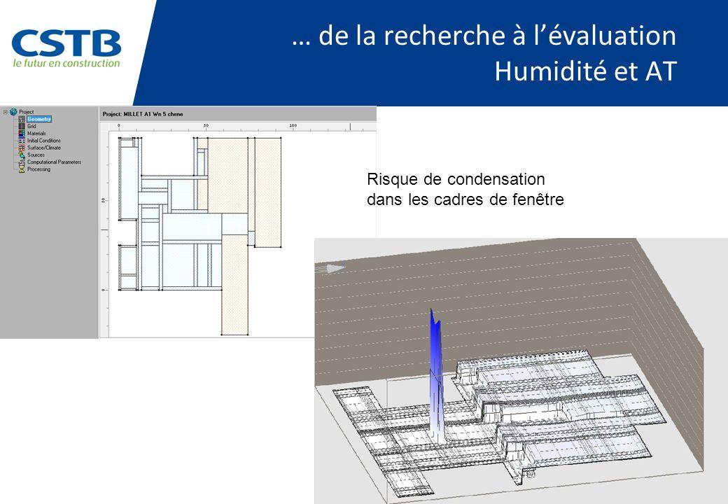 PAGE 37 … de la recherche à lévaluation Humidité et AT Risque de condensation dans les cadres de fenêtre