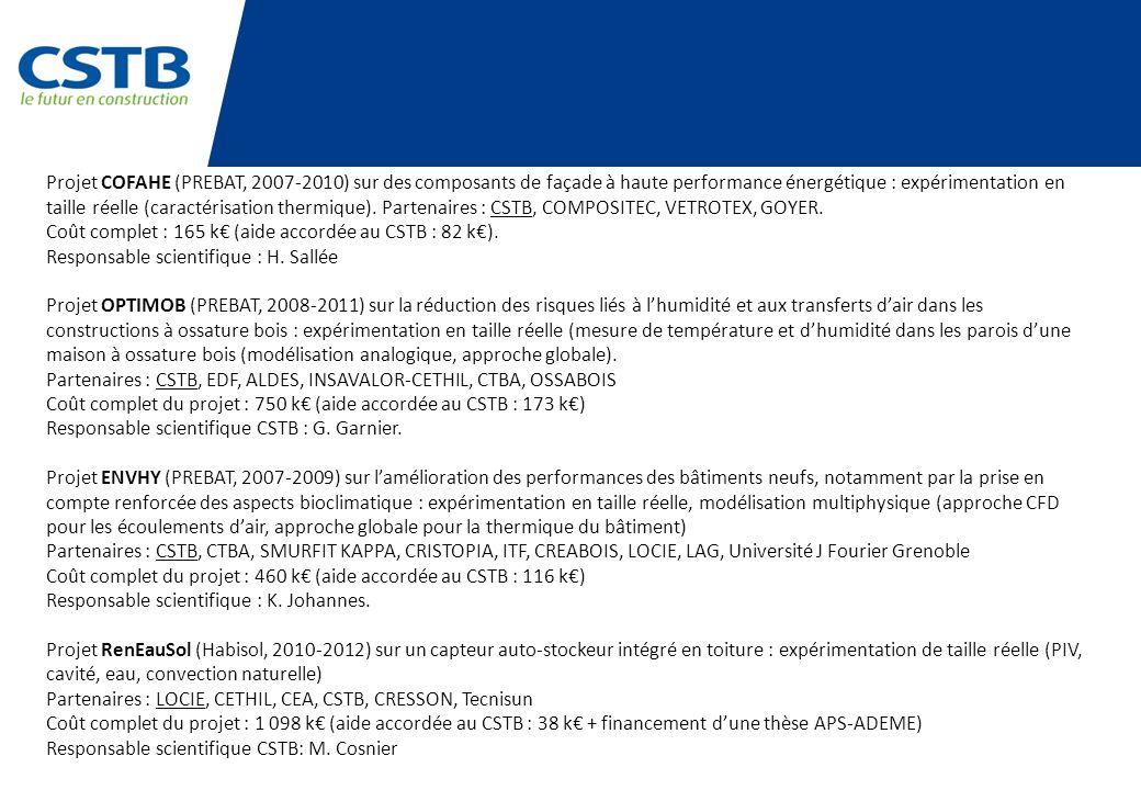 Projet COFAHE (PREBAT, 2007-2010) sur des composants de façade à haute performance énergétique : expérimentation en taille réelle (caractérisation the