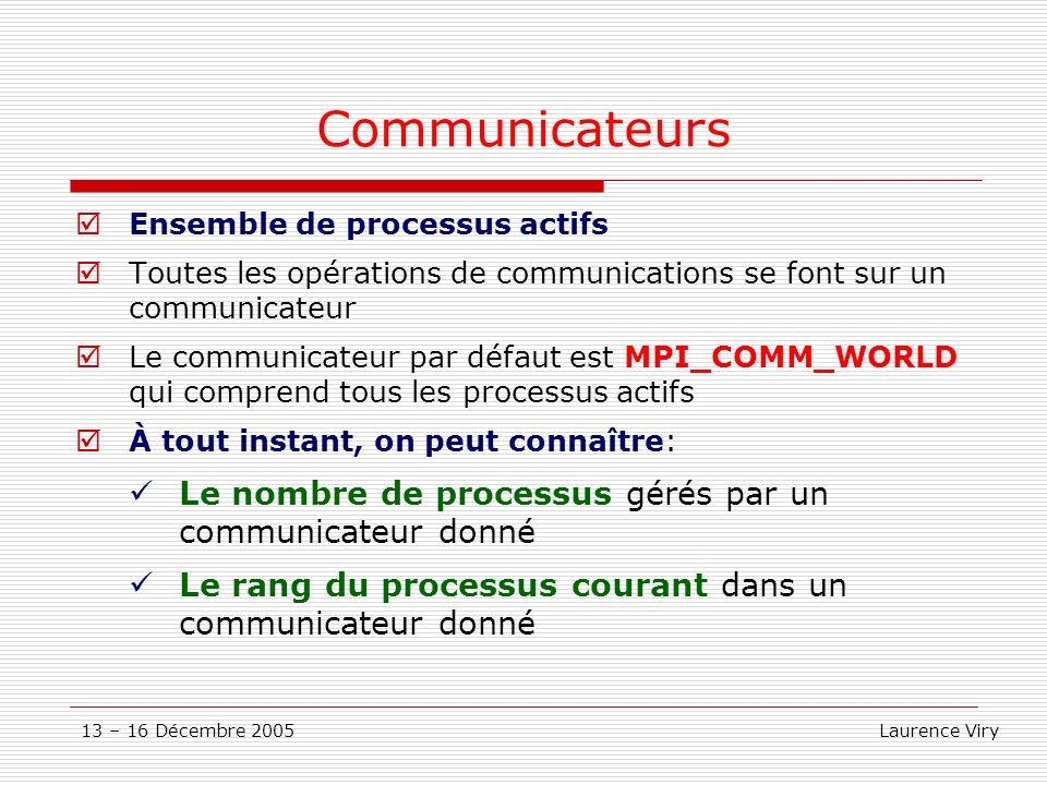 13 – 16 Décembre 2005 Laurence Viry Communicateurs Ensemble de processus actifs Toutes les opérations de communications se font sur un communicateur L