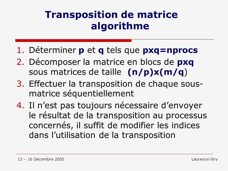 13 – 16 Décembre 2005 Laurence Viry Transposition de matrice algorithme 1.Déterminer p et q tels que pxq=nprocs 2.Décomposer la matrice en blocs de px
