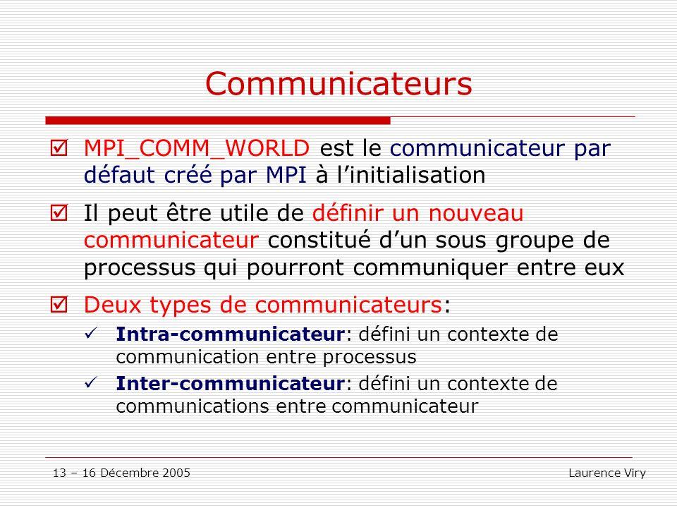 13 – 16 Décembre 2005 Laurence Viry Communicateurs MPI_COMM_WORLD est le communicateur par défaut créé par MPI à linitialisation Il peut être utile de