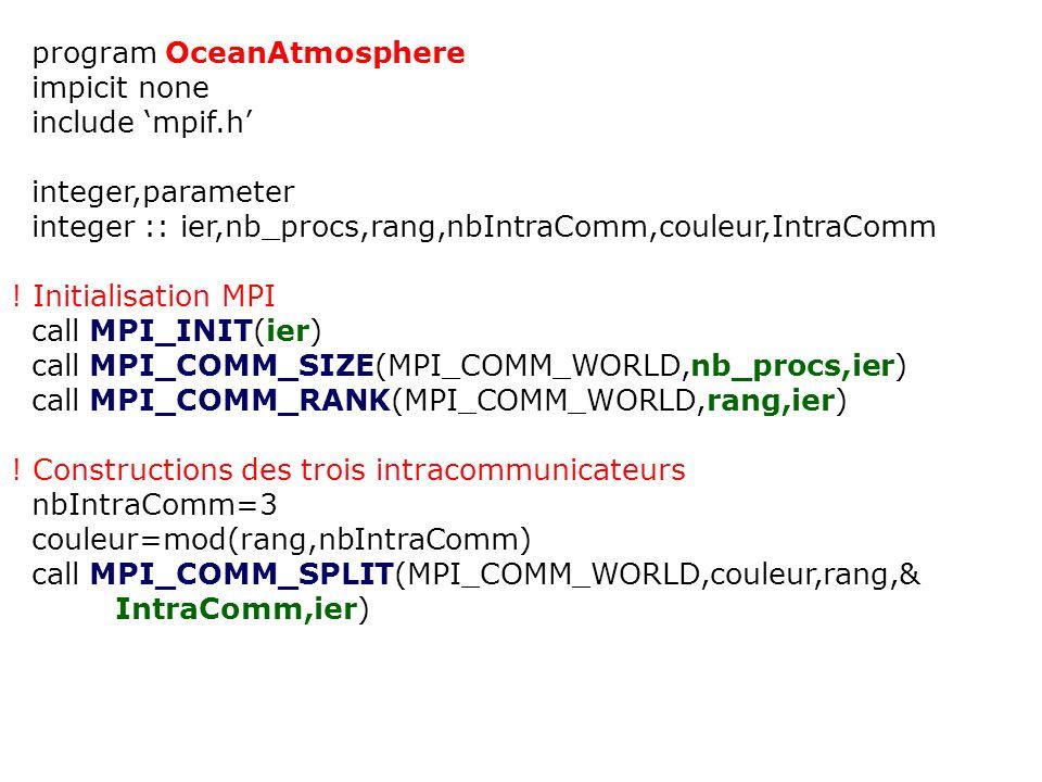 program OceanAtmosphere impicit none include mpif.h integer,parameter integer :: ier,nb_procs,rang,nbIntraComm,couleur,IntraComm ! Initialisation MPI