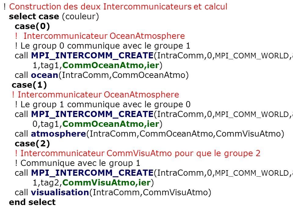 ! Construction des deux Intercommunicateurs et calcul select case (couleur) case(0) ! Intercommunicateur OceanAtmosphere ! Le group 0 communique avec