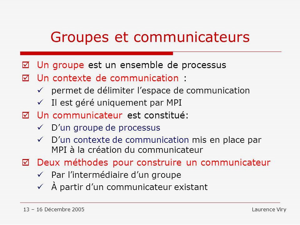 13 – 16 Décembre 2005 Laurence Viry Groupes et communicateurs Un groupe est un ensemble de processus Un contexte de communication : permet de délimite