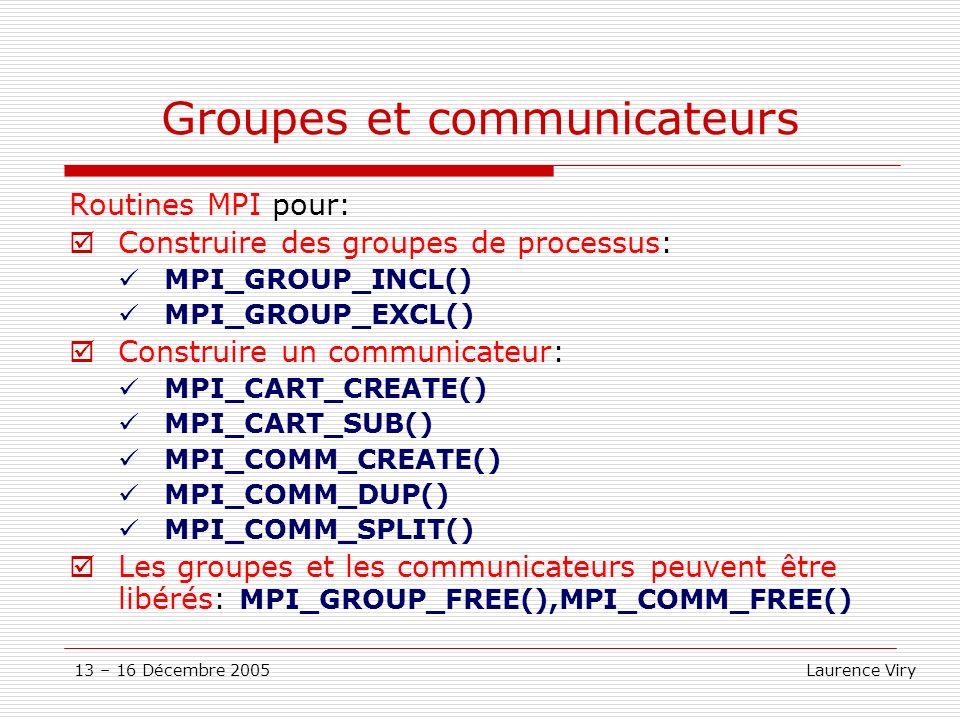 13 – 16 Décembre 2005 Laurence Viry Groupes et communicateurs Routines MPI pour: Construire des groupes de processus: MPI_GROUP_INCL() MPI_GROUP_EXCL(