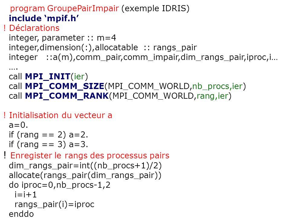program GroupePairImpair (exemple IDRIS) include mpif.h ! Déclarations integer, parameter :: m=4 integer,dimension(:),allocatable :: rangs_pair intege