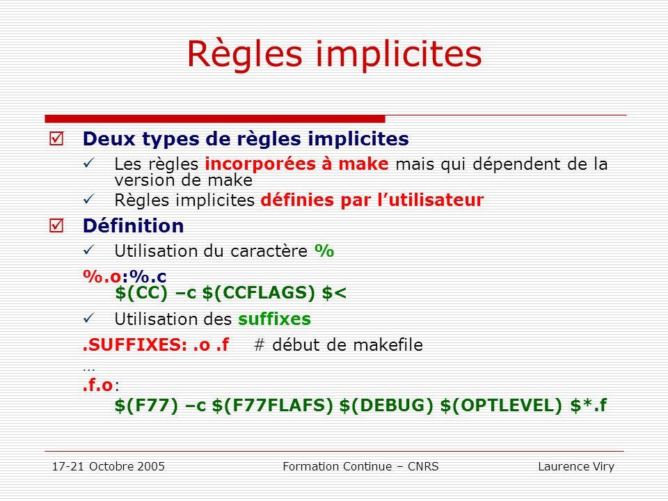 17-21 Octobre 2005 Formation Continue – CNRS Laurence Viry Règles implicites Deux types de règles implicites Les règles incorporées à make mais qui dé