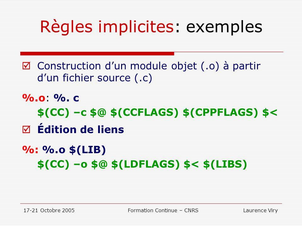 17-21 Octobre 2005 Formation Continue – CNRS Laurence Viry Règles implicites: exemples Construction dun module objet (.o) à partir dun fichier source