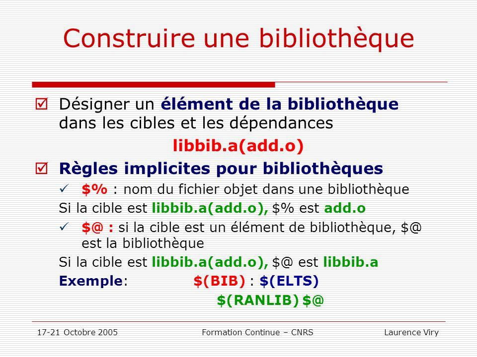 17-21 Octobre 2005 Formation Continue – CNRS Laurence Viry Construire une bibliothèque Désigner un élément de la bibliothèque dans les cibles et les d