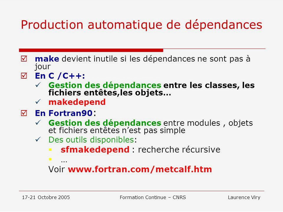 17-21 Octobre 2005 Formation Continue – CNRS Laurence Viry Production automatique de dépendances make devient inutile si les dépendances ne sont pas à