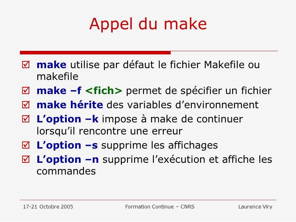 17-21 Octobre 2005 Formation Continue – CNRS Laurence Viry Appel du make make utilise par défaut le fichier Makefile ou makefile make –f permet de spé