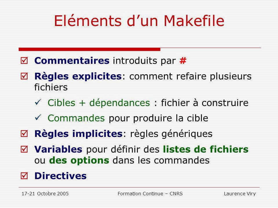 17-21 Octobre 2005 Formation Continue – CNRS Laurence Viry Eléments dun Makefile Commentaires introduits par # Règles explicites: comment refaire plus