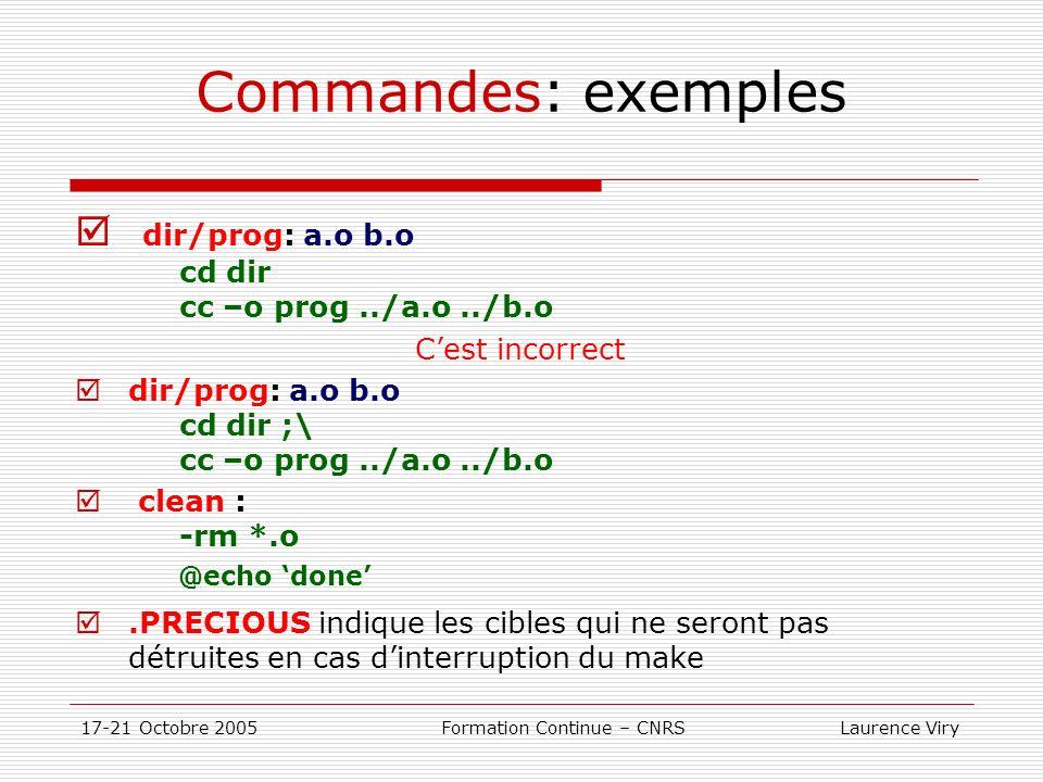 17-21 Octobre 2005 Formation Continue – CNRS Laurence Viry Commandes: exemples dir/prog: a.o b.o cd dir cc –o prog../a.o../b.o Cest incorrect dir/prog