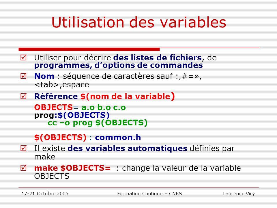 17-21 Octobre 2005 Formation Continue – CNRS Laurence Viry Utilisation des variables Utiliser pour décrire des listes de fichiers, de programmes, dopt