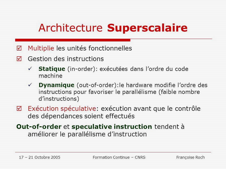 17 – 21 Octobre 2005 Formation Continue – CNRS Françoise Roch Architecture Superscalaire Multiplie les unités fonctionnelles Gestion des instructions