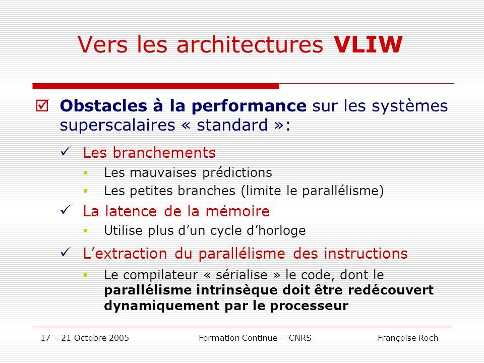 17 – 21 Octobre 2005 Formation Continue – CNRS Françoise Roch Vers les architectures VLIW Obstacles à la performance sur les systèmes superscalaires «