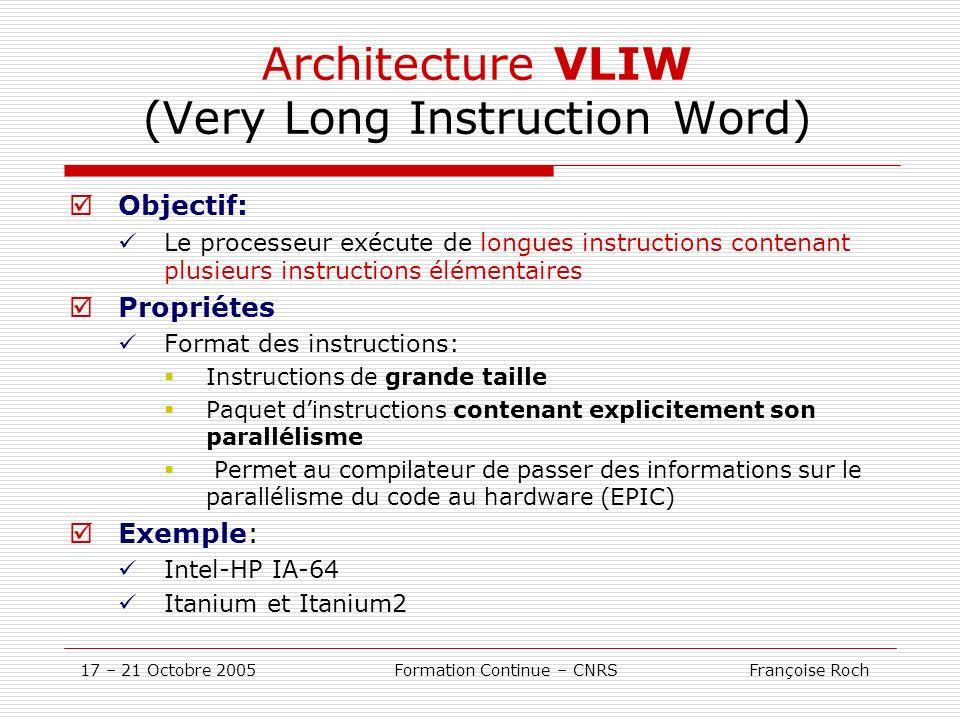 17 – 21 Octobre 2005 Formation Continue – CNRS Françoise Roch Architecture VLIW (Very Long Instruction Word) Objectif: Le processeur exécute de longue