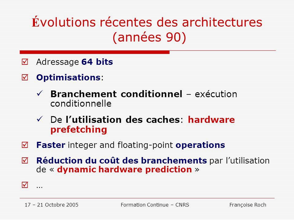 17 – 21 Octobre 2005 Formation Continue – CNRS Françoise Roch É volutions récentes des architectures (années 90) Adressage 64 bits Optimisations: Bran