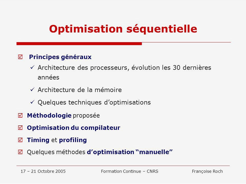 17 – 21 Octobre 2005 Formation Continue – CNRS Françoise Roch Optimisation séquentielle Principes généraux Architecture des processeurs, évolution les