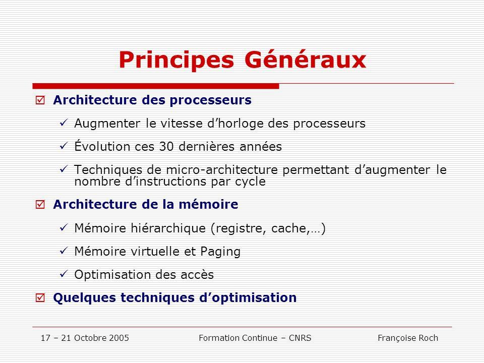 17 – 21 Octobre 2005 Formation Continue – CNRS Françoise Roch Principes Généraux Architecture des processeurs Augmenter le vitesse dhorloge des proces