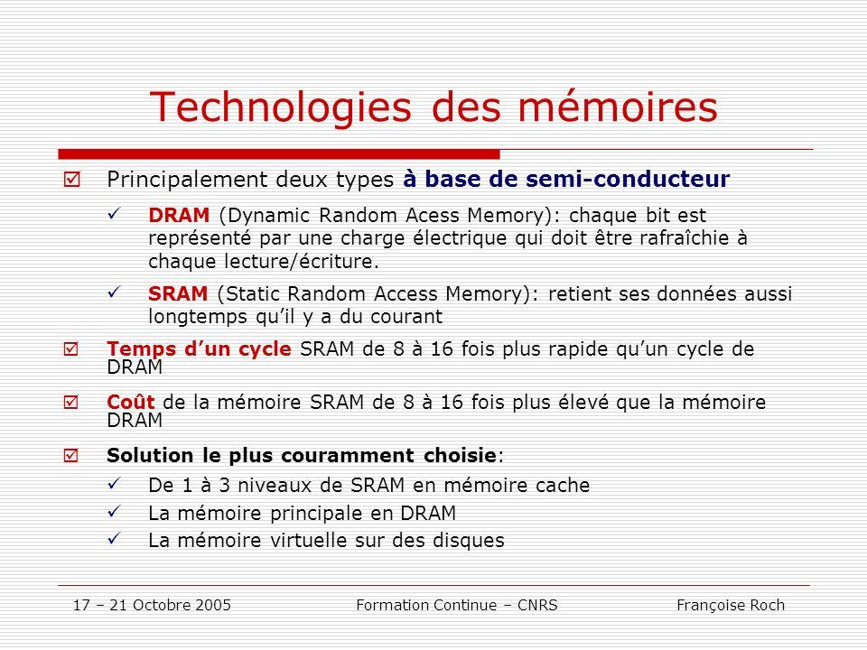 17 – 21 Octobre 2005 Formation Continue – CNRS Françoise Roch Technologies des mémoires Principalement deux types à base de semi-conducteur DRAM (Dyna