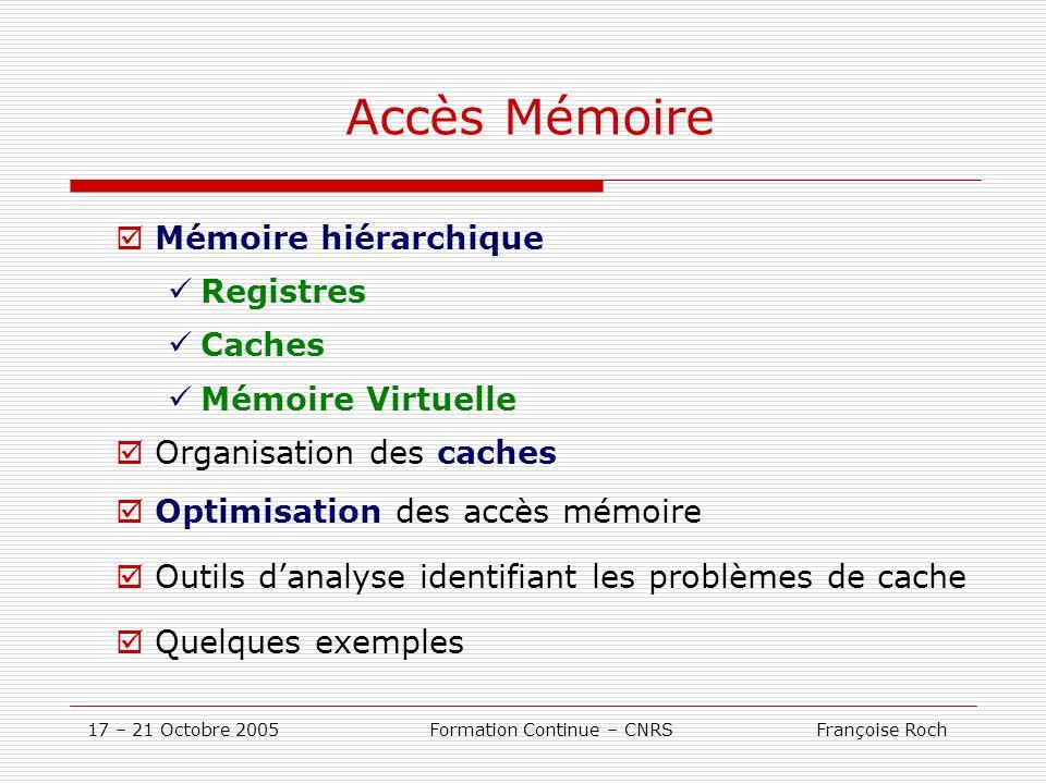 17 – 21 Octobre 2005 Formation Continue – CNRS Françoise Roch Accès Mémoire Mémoire hiérarchique Registres Caches Mémoire Virtuelle Organisation des c