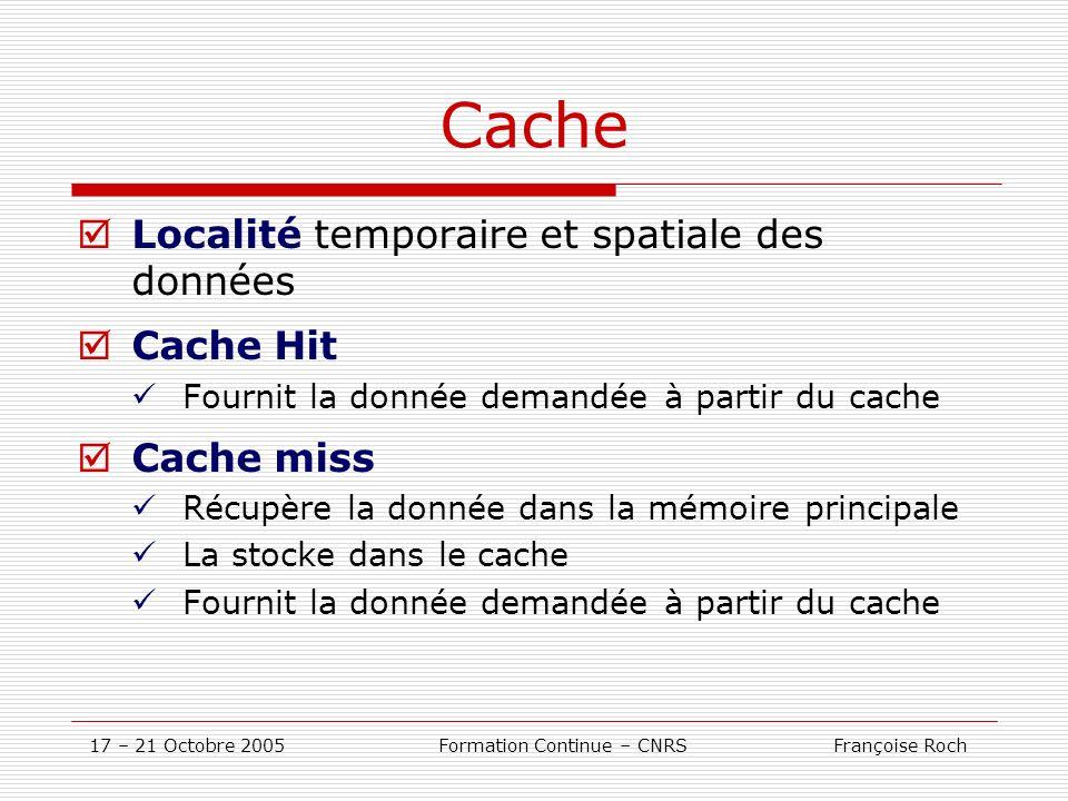 17 – 21 Octobre 2005 Formation Continue – CNRS Françoise Roch Cache Localité temporaire et spatiale des données Cache Hit Fournit la donnée demandée à