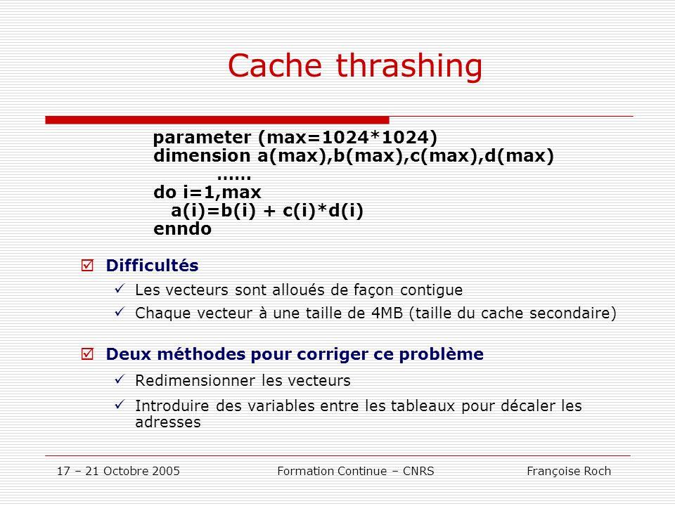 17 – 21 Octobre 2005 Formation Continue – CNRS Françoise Roch Cache thrashing parameter (max=1024*1024) dimension a(max),b(max),c(max),d(max) …… do i=